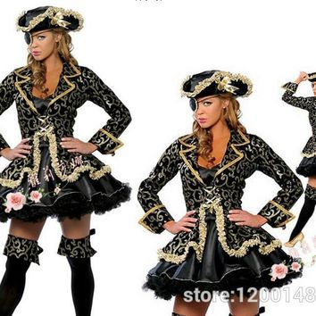 Plus Size 3XLPirates of the Caribbean costume Sexy Caribbean Pirate Costumes Women Halloween Pirate Cosplay Costume with Hat