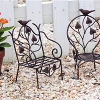Minature chair pot holder, two assorted with bird detail
