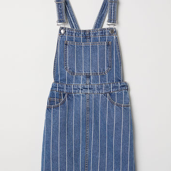 Denim Bib Overall Dress - Denim blue/striped - Ladies | H&M US