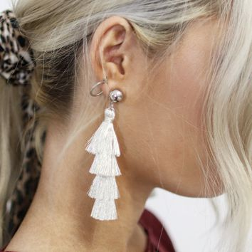 Our Day Metallic Ivory Tiered Tassel Earrings