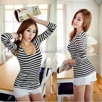 Korean Autumn Stripe Sexy Tight Long Sleeve T-shirt Fashion Tops Blouse Women