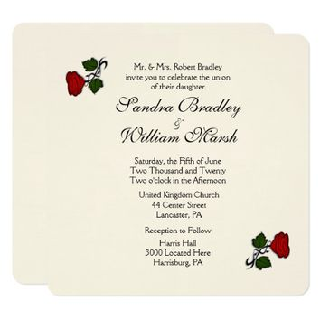 Red Rose Cream Wedding Invitation