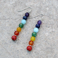 chakras, genuine chakra gemstone earrings