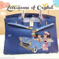 Swarovski / Czech Crystals -Hermes Birkin Inspired Purse/ Handbag with Disney's Family - ZoeCrystal