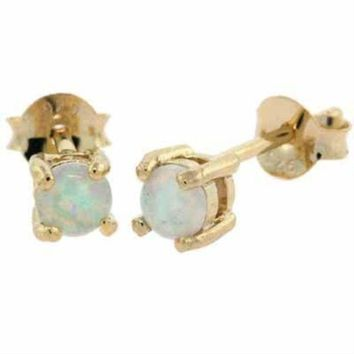 18K Gold over 925 Silver Created White Opal 4mm Round Stud Earrings