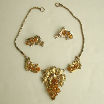 Art Nouveau Amber Rhinestone 1920s Choker Necklace Earrings Set Vintage Jewelry