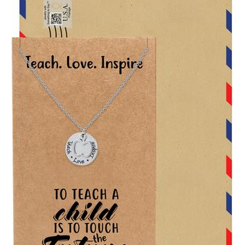Zuri Gifts for Teachers - Teach Love Inspire Necklace, Teacher Gifts with Greeting Card