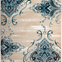 4625 Blue Damask Oriental Area Rugs