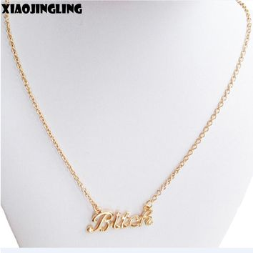 "XIAOJINGLING Link Chain Pendant Necklace""Bitch"" Trendy Jewelry Gift For Women Necklace Jewelry Best Friends Anniversary Party"