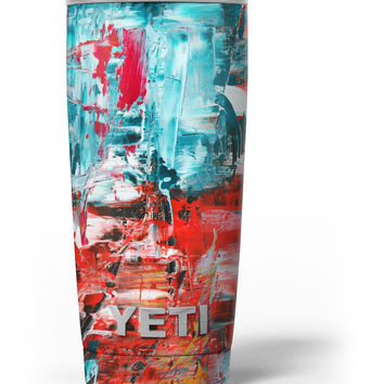 Red and Blue Abstract Oil Painting Yeti Rambler Skin Kit