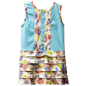 Organic Tropical Fruit Pintucked and Tiered Ruffle Print Dress