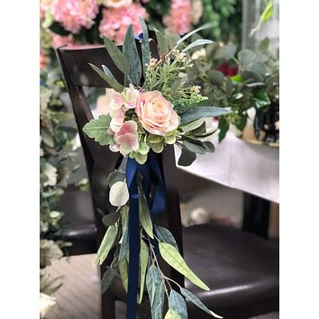 Rustic Wedding Aisle marker Church pew chair lantern Arch decoration flowers RENTAL or purchasing Blush Pink rose hydrangea eucalyptus