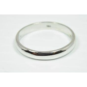 3mm Wide Solid 18k White Gold Engagement Band Ring Brand G&DE Sizable 10.25