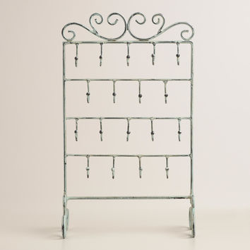 Green Patina Four-Row Hooks Jewelry Stand with Hooks - World Market