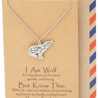 Chlodette Loving Wolf Necklace with Inspirational Quote and Prayer