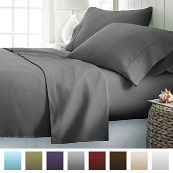 Luxury Soft Brushed Microfiber 4Piece Bed Sheet Set Deep Pocket Queen Slate Gray