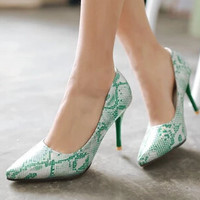 Bridal Mint Green Pointed Toe Stiletto Snakeskin Python Print Faux Leather Pump Shoes For Women y High Heels Zapatos Mujer US10.5 Alternative Measures
