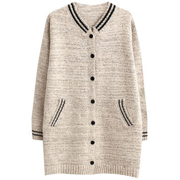 V Neck Striped Button Down Cover-up Sweater