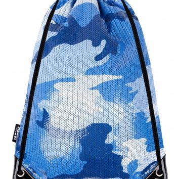 Blue Camo Sequin Drawstring Bag