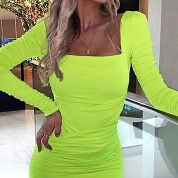 Change My Mind Long Sleeve Square Neck Puff Shoulder Ruched Bodycon Mini Dress - 2 Colors Available