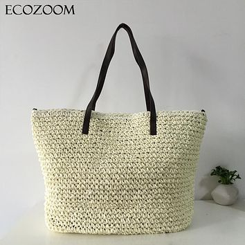 Summer Women Durable Weave Straw Beach Bag Feminine Linen Woven Bucket Bag Grass Casual Tote Handbags Knitting Rattan Bags Hobos