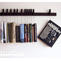 RESERVED - Custom made wooden book rack in Wenge. Pins also work as bookmarks.