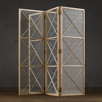Weathered Oak Screen with Mirror