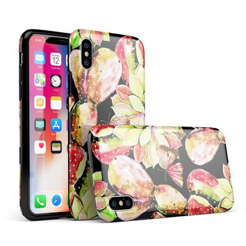 Watercolor Cactus Succulent Bloom V5 - iPhone X Swappable Hybrid Case