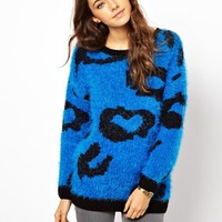 ASOS Sweater In Fluffy Animal - Blue $24.76