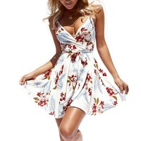 Womens Dresses Summer Floral Print V-Neck Spaghetti Strap Mini Swing Skater Dress with Belt