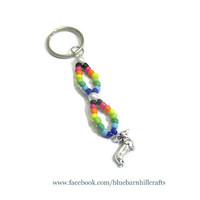 Rainbow Dachshund Keychain - Hand beaded , hand crafted - weenie dog - #20150006