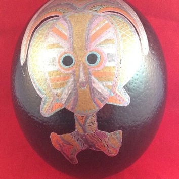 Hand Painted Signed Ostrich Egg From Bangala Vintage African Art