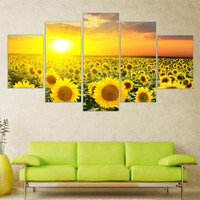 Modern Oil Painting Flower Modular Canvas Art Landscape Sun Posters and Prints W