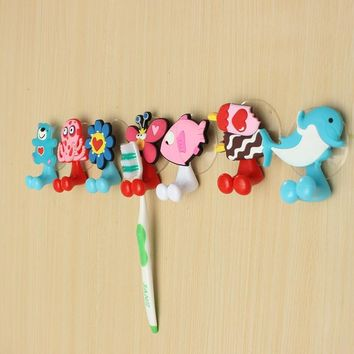 1pc Kids Cartoon Animal Toothbrush Holder Silicone Bear Dolphin Fish Toothbrush Suction Holder Home Bathroom Wall Brush Hanger