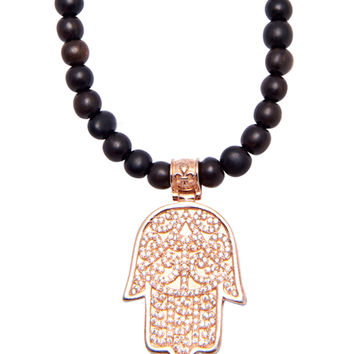 Necklace With Rose Gold Hamsa Hand