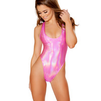 Pink Holographic Baywatch Rave Bodysuit