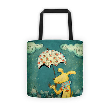 Tote Bag 15x15 inches - Rainy Day - Happy Dog - Gift for Her - Gift for Him - Illustration lovers