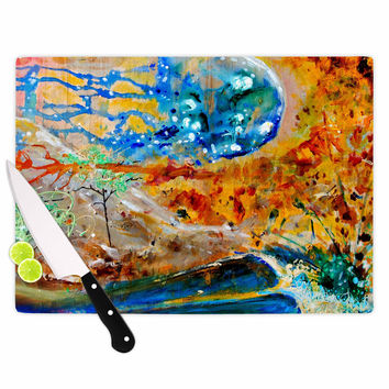 """Nathan Gibbs Art """"The Earth Shows Its End"""" Blue Orange Cutting Board"""
