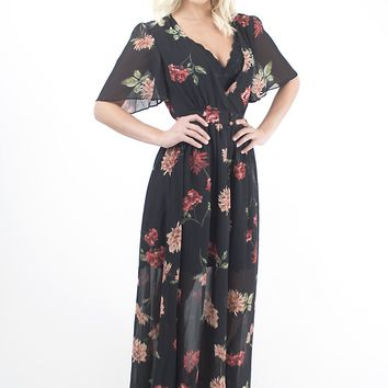 Women's Black Mimosa Chiffon Dress