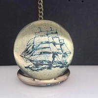 Pocketwatch,sailing,sailing boat,sailor pocket watch,vessel watch,antique watch,time,for boyfriend,boyfriend,antigue brass,