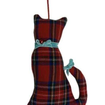 Faux Wool Cat Christmas Ornament With Cyan Bow Collar And Cyan Bow On Tail Plaid