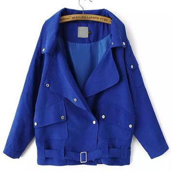 Patch Pocket Long Sleeve Double-Breasted Rivets Coat