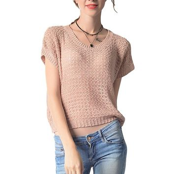 [15734] Pullover Sleeveless Lace Filigree Loose Knit Top