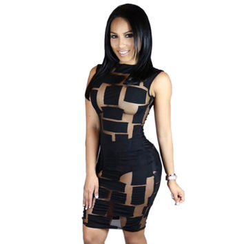 Sexy Club Dress 2016 Women Summer Sexy Black Sheer Mesh White Patchwork Pencil Dress Cocktail Party Dresses