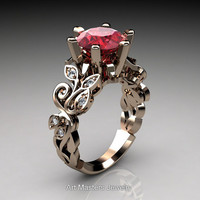 Nature Inspired 14K Rose Gold 3.0 Ct Ruby Diamond Leaf and Vine Crown Solitaire Ring RD101-14KRGDR