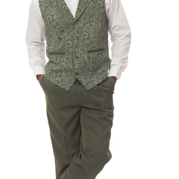 Men's Two Piece Paisley Vest Solid Pants Set V-626