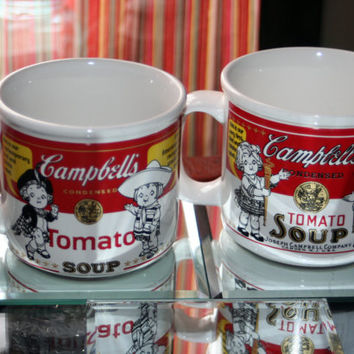 Vintage Set of Campbell's Soup Mugs with Contemporary Label ~ Cambells Soup Bowl, Chicken Noodle Cup, Tomato Soup Mug
