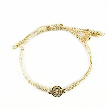 Golden Cord Bracelet Is Complimented By a Gold Benedictine Medal, Which Is One of the Most Powerful Symbols of Protection.