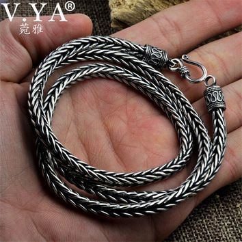 V.YA 100% 925 Sterling Silver Snake Shape Necklaces for Men Male Punk Style Thai Silver Long Chain Necklace 55cm 60cm