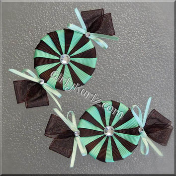 Brown & Mint Green Peppermint Candy Hair Bow Candy Hair Bow Candy Hair Clip